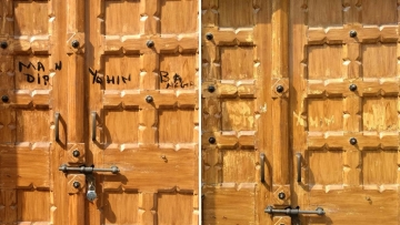 'Mandir yahin banega' ('The temple will be constructed here') scribbled on the door (left), the chapel door after the slogan was scraped out (right).
