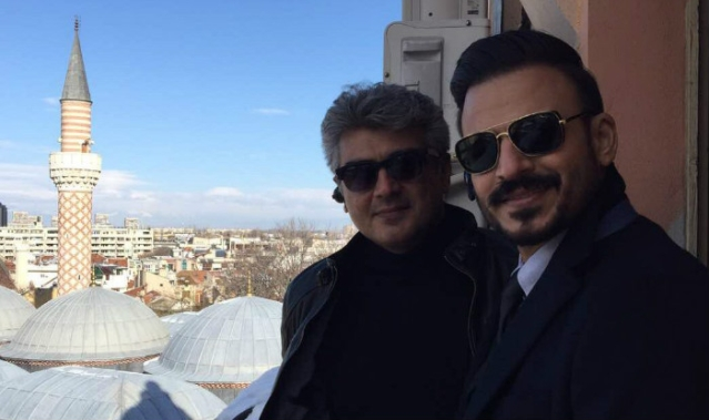 Vivek Oberoi with Tamil star Ajith on the sets of <i>Vivegam.</i>