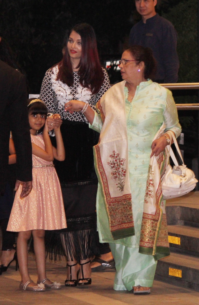 Aishwarya Rai Bachchan with mom Vrinda Rai and daughter Aaradhya after their dinner together.