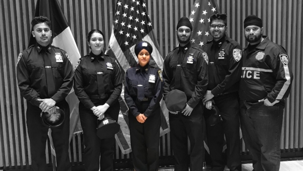 Gursoach Kaur (centre) will join the New York Police Department as an Auxiliary Police Officer.