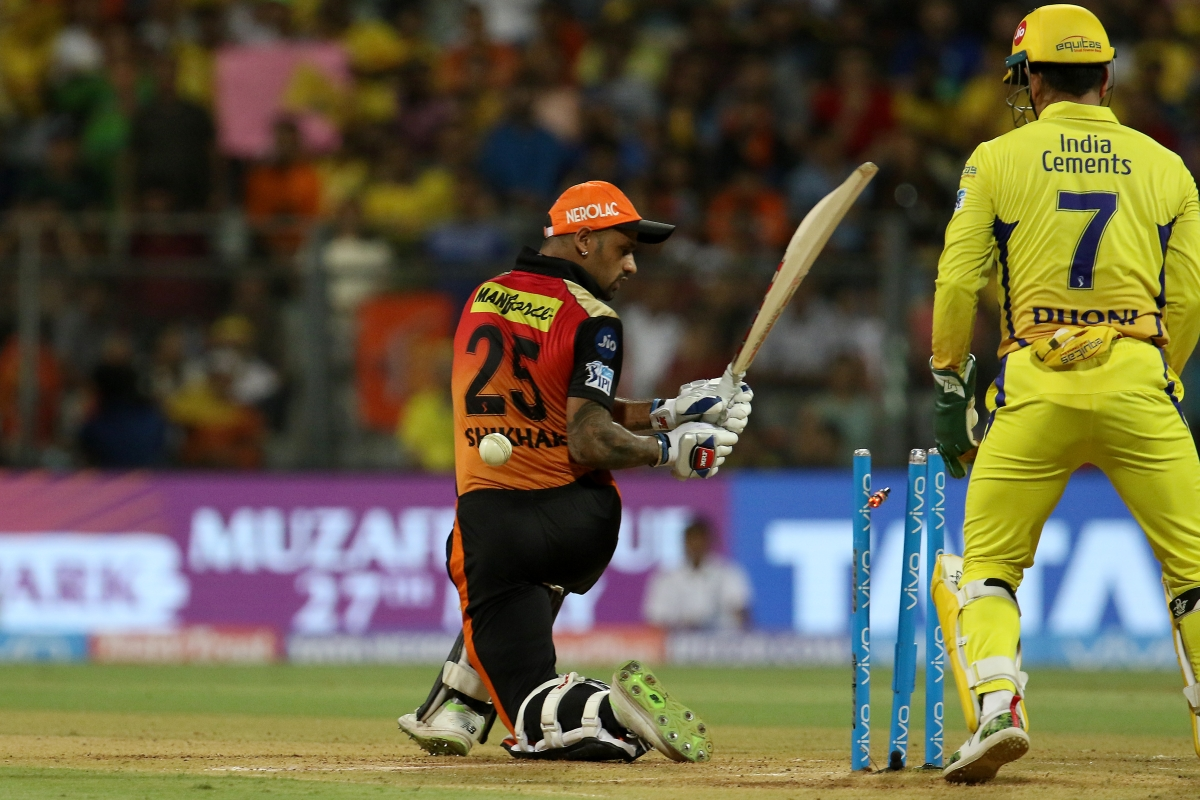 Shikhar Dhawan gets bowled by Ravindra Jadeja.