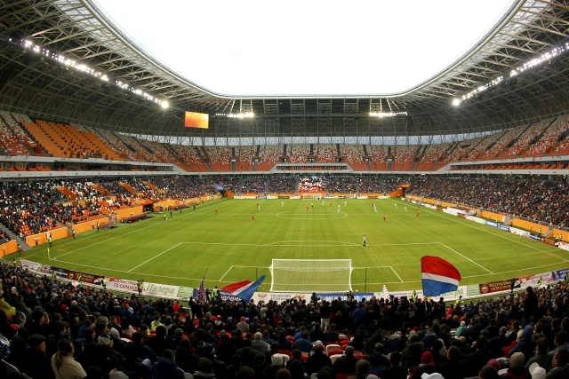 Having a capacity of 44,000, Saransk's stadium is decorated in striking red and orange to echo traditional arts and crafts.