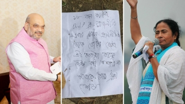 BJP President Amit Shah (left); the note found on the deceased (middle); and West Bengal Chief Minister Mamata Banerjee (right).
