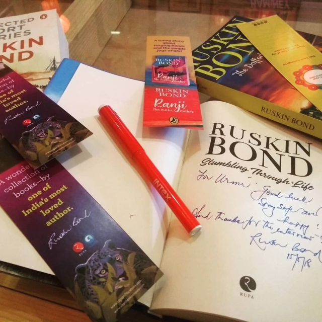 Ruskin Bond gave me several copies of his books, signing each and every one of them.