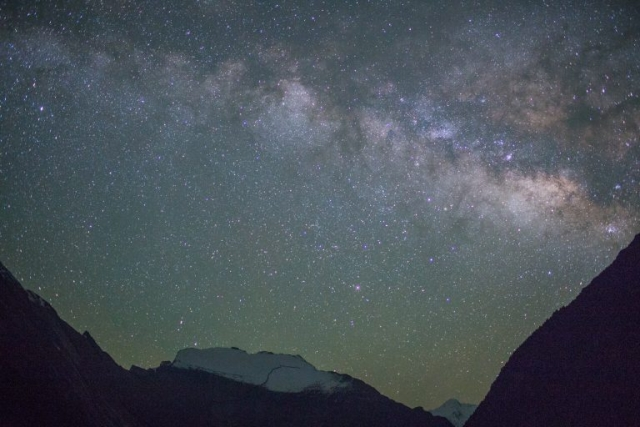 A night view of the milky-way galaxy with Sworgadwari Wall in Manang Valley 2018.