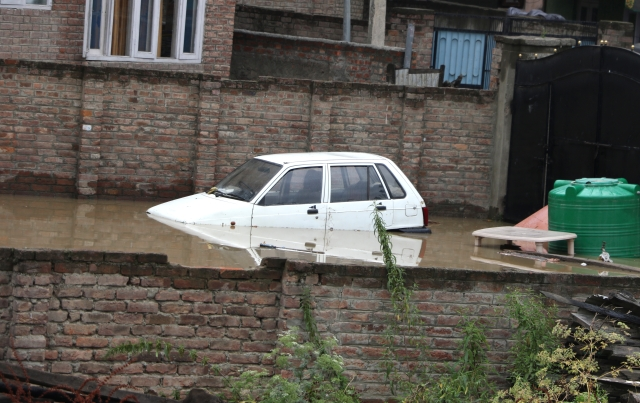 A car submerged on the streets of Srinagar.