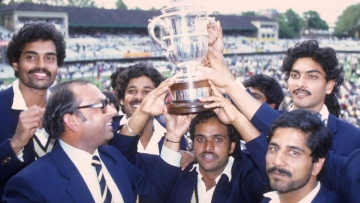 Members of the Indian cricket team with the World Cup trophy on 25 June  1983.