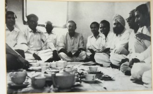 Vajpayee (centre) with members of the Jana Sangh.
