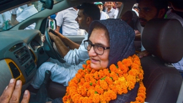 Rashtriya Lok Dal (RLD) candidate Tabassum Hasan outside the counting centre after winning the Kairana Lok Sabha by-election.