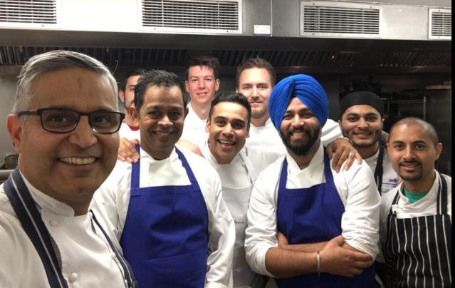 Atul Kochhar in a London kitchen.
