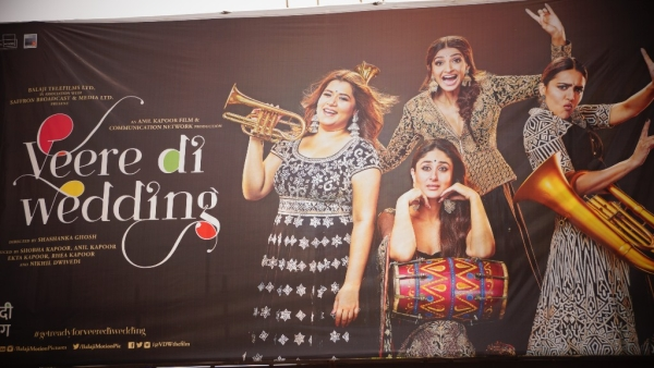A banner of <i>Veere Di Wedding </i>at a cinema hall in Kanpur.