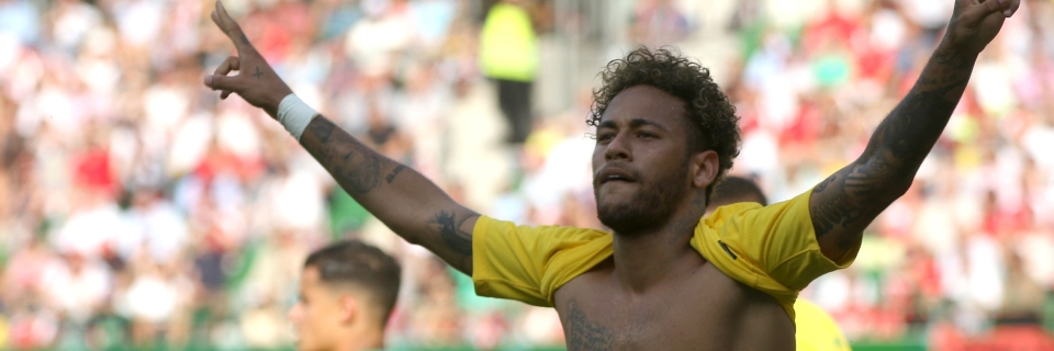 6c03969f4 Brazil s Neymar celebrates after scoring his side s second goal during a  friendly soccer match between Austria