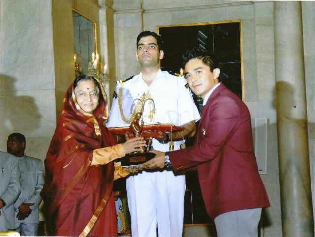 Sunil Chhetri was conferred with the Arjuna Award in 2011