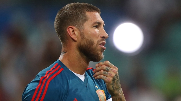 Spain's Sergio Ramos during a warm up session.