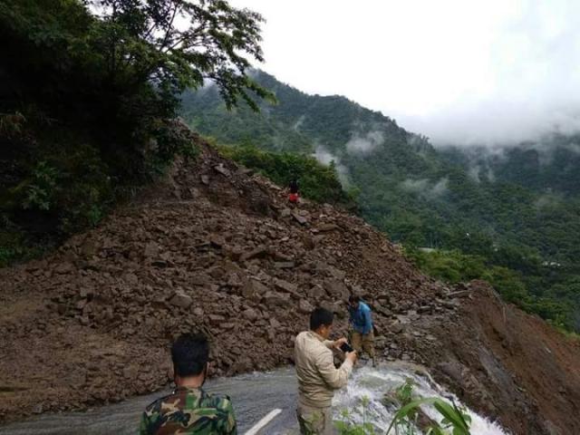 Debris from landslides blocked several key highways in Manipur.