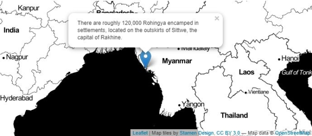 Map showing the location of the Rohingya settlement.