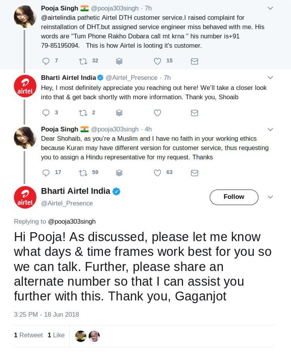 A screenshot of the Twitter conversation between Pooja Singh and Bharti Airtel India.