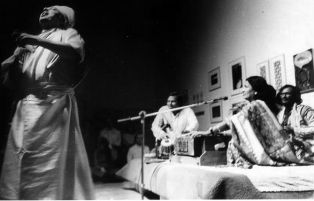 Purna Das Baul's band on stage in 1967 in San Francisco.
