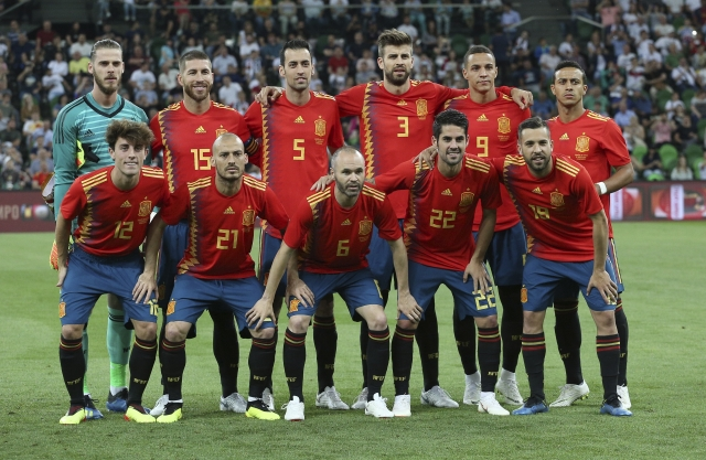 Spain's team pose prior to a friendly soccer match between Spain and Tunisia in Krasnodar, Russia.