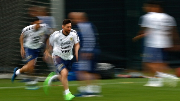 Argentina's Lionel Messi attends a team training session at the Sports Center FC Barcelona Joan Gamper.