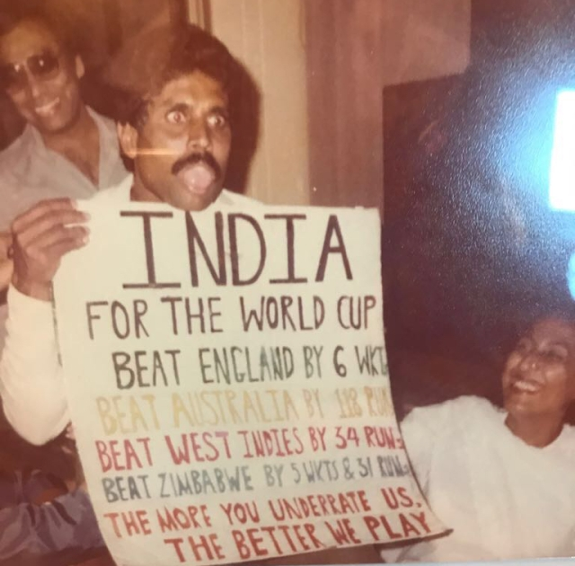 Kapil Dev at the Indian team's celebration after the 1983 World Cup win.