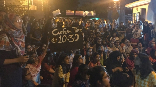 Jamia students protest over curfew timings in hostel in March, 2018.