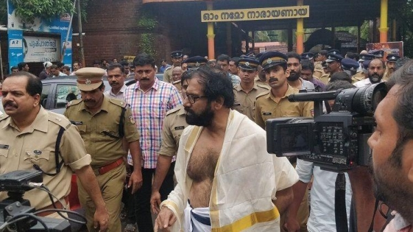 Kerala writer KP Ramanunni walked outside the Sri Krishna temple in Kannur's Chirakkal on Thursday morning.