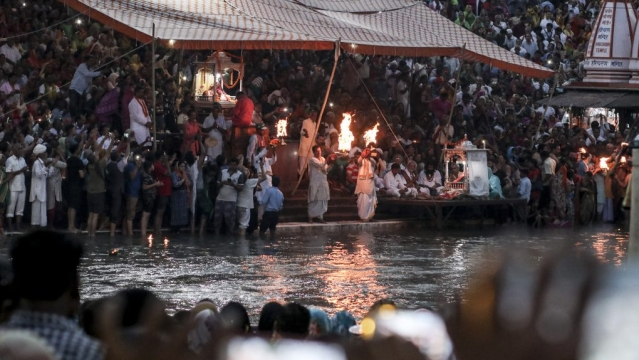 The evening Ganga Aarti (prayers) at the Har Ki Pauri ghat, the flames of faith at the river.
