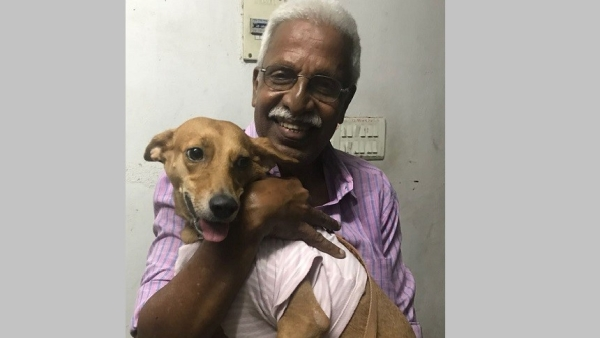 A 68-year-old man traveled from Coimbatore to Chennai to give the dog Bhadra, who was thrown off a terrace, a hug.