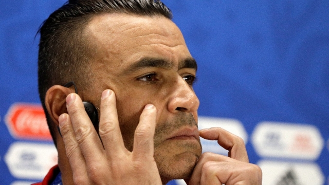 Egypt captain Essam El Hadary listens to a question during a press conference on the eve of the group A match between Egypt and Uruguay.