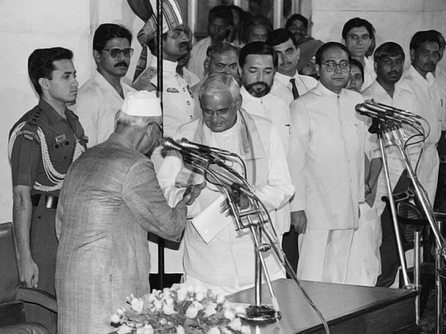 Atal Bihari Vajpayee greets (then) President Shankar Dayal Sharma at his swearing-in ceremony.