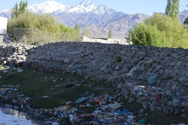 Garbage on the bank of Indus near Choglamsar in Ladakh.