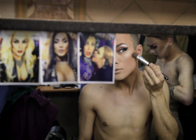 Andrei, who uses the stage name Star Vasha applies make up on before performing at a Gay club during the 2018 soccer World Cup in Yekaterinburg, Russia.