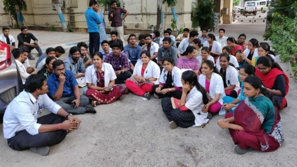 Medical interns and post-graduate students staged a protest at Stanley Medical College demanding more security after a patient's relative slapped a doctor on 17 June.