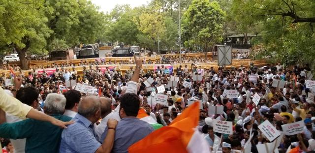 Protesters at Parliament street, New Delhi.