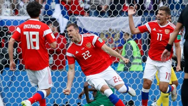 Russia' Artem Dzyuba scored a brace against Egypt.