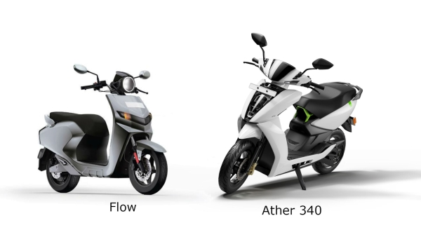 Flow scooter (left) and Ather 340 (right) compared.