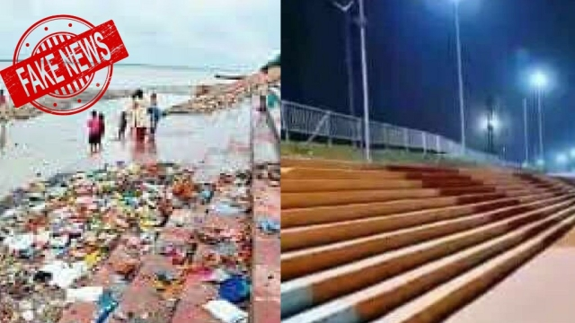 The original picture is of the ghats of Shipra the river, before and after they were cleaned for the Kumbh mela.