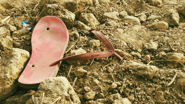 A stray chappal that belonged to Qasim, the Muslim cattle trader who was lynched by a mob who accused him of cow slaughter in Uttar Pradesh's Hapur.