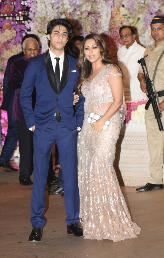 Gauri Khan arrived at the big fat engagement party with her son.