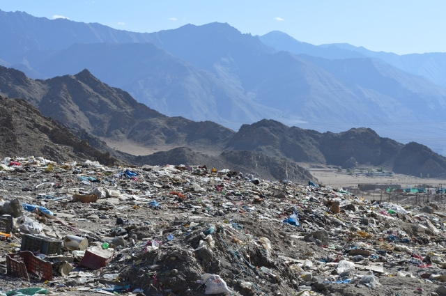 Solid waste lying at a large dump site, Bomgard, near Leh town. Locals said that waste often gets carried away by the wind and some of it ends up in the Indus.