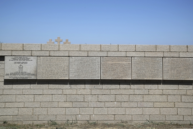 In this Sunday, June 17, 2018 photo, the names of the Nazi German soldiers who died in the World War II battle of Stalingrad are written on the Memorial cemetery near Volgograd, Russia.