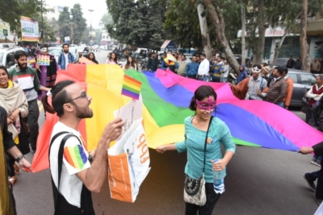 Lucknow: LGBT (lesbian, gay, bisexual and transgender) supporters participate in Awadh Queer Pride Parade in Lucknow on Feb 11, 2018. (Photo: IANS)