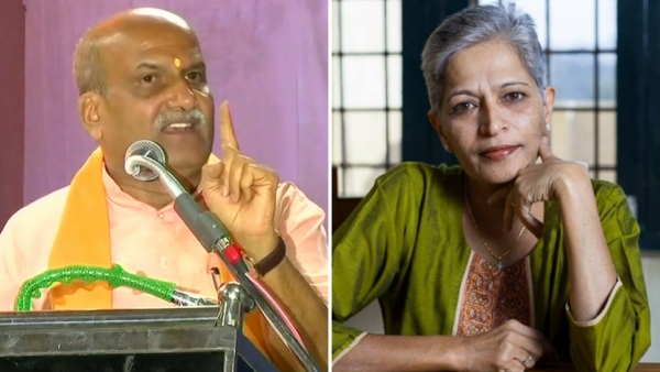 Pramod Muthalik, Sri Ram Sene Chief (left), and Gauri Lankesh, former editor Lankesh Patrike (right).