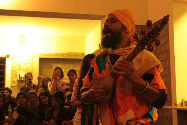 A Baul performance in Shantiniketan, West Bengal, in the Winter of 2014.