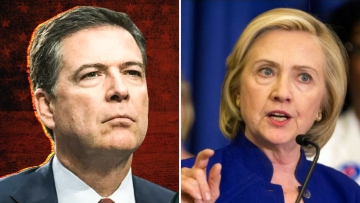 Former FBI Director James Comey and 2016 presidential candidate Hillary Clinton.