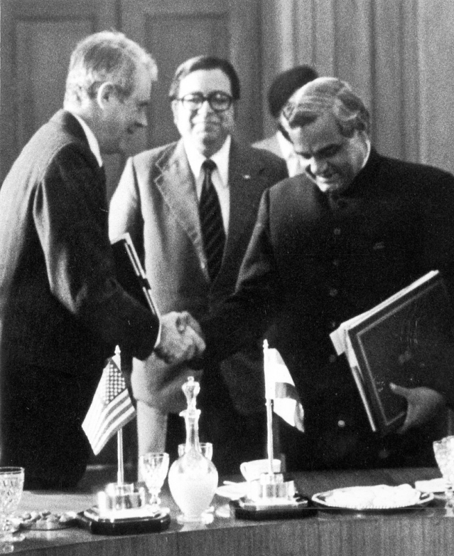 Former US President Carter meets Atal Bihari Vajpayee during his 1978 visit to India when Vajpayee was External Affairs Minister.