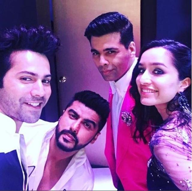 Karan Johar, Varun Dhawan, Shraddha Kapoor and Arjun Kapoor at IIFA Rocks.