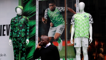 Nigerian national soccer team jersey is on display at a shop in London.