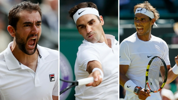 File photo of Marin Cilic, Roger Federer and Rafael Nadal.